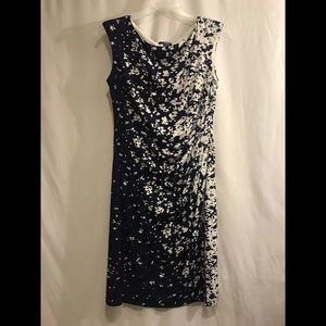 Chaps Dress Navy&White Pattern